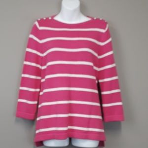 Christopher & Banks pink striped pullover sweater